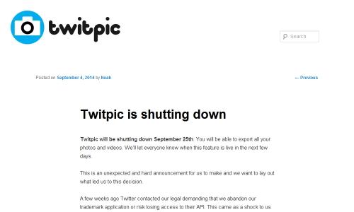 Twitpicが9/25(現地時間)に終了になる?使ってる人は注意しましょう。